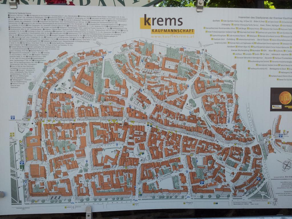 Dieser Plan soll uns beim Erkunden der Altstadt von Krems helfen.